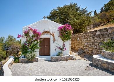 Facade of a small church in Lindos town