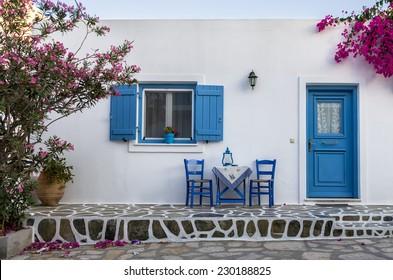 Facade of a small house in Antiparos island, Greece