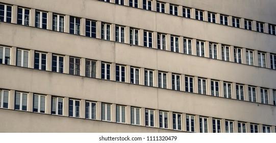 facade of a socialist building with windows