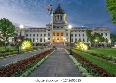 Facade of South Dakota Capital Building in Pierre, SD at night