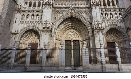 Facade of a Spanish church built in the 14th century in the city of Toledo.