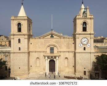 Facade of St John's Co-Cathedral in Valletta, Malta