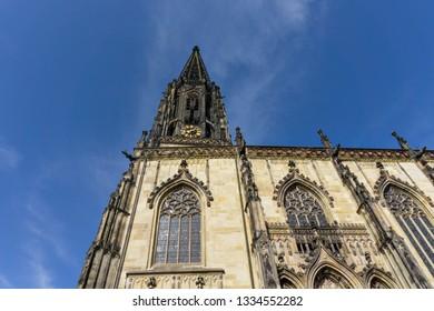 Facade of St. Lamberti Church on Prinzipalmarkt in Münster, North Rhine-Westphalia (NRW)
