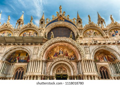 Facade of St Mark's Basilica, cathedral church of Venice, Italy. Located in the Piazza San Marco, it is one of the most recognizable sightseeing of the city
