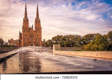 The facade of St. Mary Cathedral, Sydney, Australia