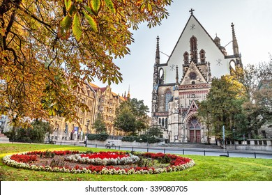 Facade of St. Thomas Church (Thomaskirche) in Leipzig, Germany