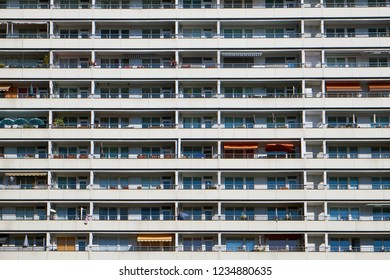 Facade of a subsidized housing building seen in Berlin, Germany