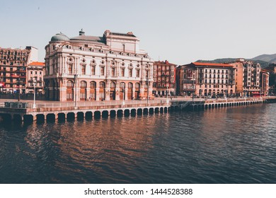 facade of the Teatro Arriaga, in the center of the Casco Viejo, the Old Town from Bilbao, Spain June 2019