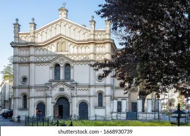Facade of the Tempel Synagogue in Krakow, Poland