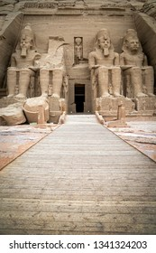 Facade of the Temple of Ramses II with its four colossuses guarding it, at Abu Simbel, south of Egypt
