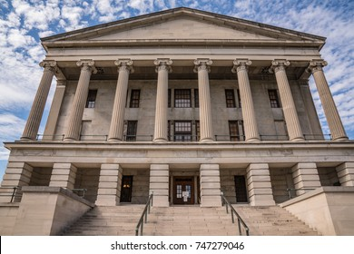 Facade of Tennessee State Capital Building in Nashville, Tennessee