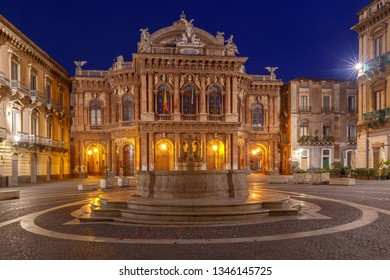 The facade of the theater Massimo Bellini in the night lighting. Catania Sicily. Italy.