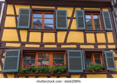Facade of a traditional Alsatian building in Colmar, France.