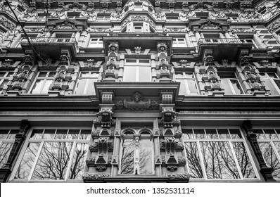 Facade of a traditional apartment building in Hamburg, Germany