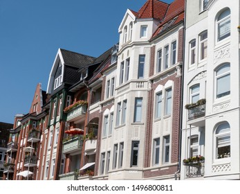 Facade of a traditional apartment building in Kiel, Germany