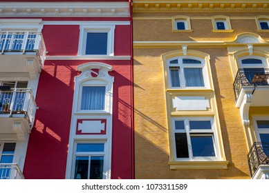 Facade of traditional apartment buildings in Hamburg, Germany