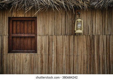 Facade of a traditional arabian home made with palm leaves.