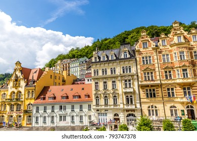 Facade Of Traditional Buildings - Karlovy Vary (Carlsbad), Czech Republic, Europe