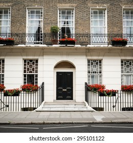 The facade to a traditional Georgian town house typical to the Bloomsbury district of central London.