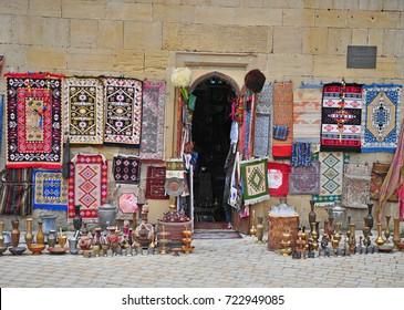 Facade of traditional souvenirs shop in Baku, Azerbaijan