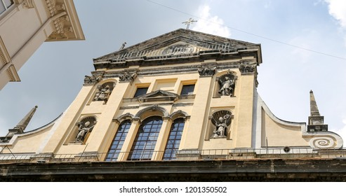 Facade of Transfiguration Church in lviv City, Ukraine