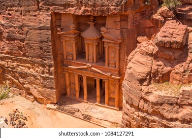 The facade of the Treasury (Al Khazneh), Petra, Jordan.