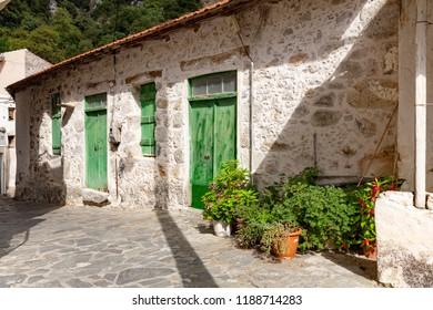 Facade of a typical residential home on Crete, Greece