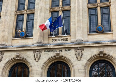Facade of university Sorbonne in Paris, France