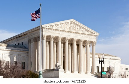 Facade of US Supreme court in Washington DC on sunny day