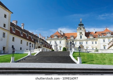 Facade of Valtice castle, one of the most impressive Baroque residences of Central Europe.