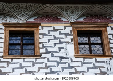 The facade of the Velke Losiny chateau in the Czech Republic has an interesting arrangement of windows