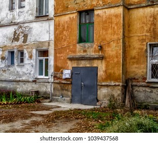 Facade of a very old apartment building. Old architecture. Historical heritage