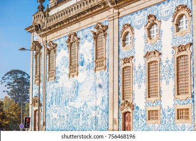 Facade view on the church wall with famous poruguese blue tiles Azulejo in Porto city in Portugal