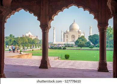 Facade view of Taj Mahal in Agra, India