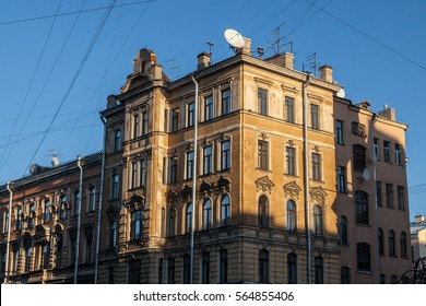Facade of vintage building russia Saint-Petersburg