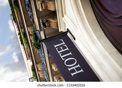 Facade of a vintage hotel in Paris France