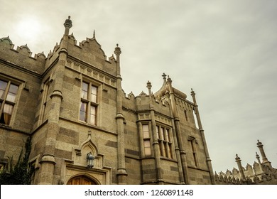 Facade of Vorontsov palace in Crimea, closeup