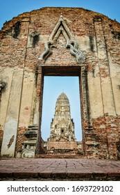 Facade of Wat Rachaburana, Ayutthaya Thailand