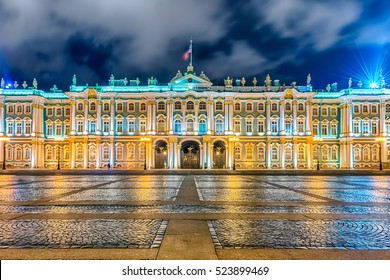 Facade of the Winter Palace, house of the Hermitage Museum, iconic landmark in St. Petersburg, Russia