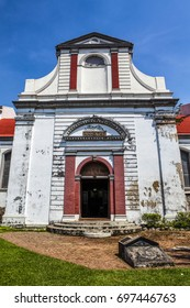 Facade of the Wolvendaal Church - a Dutch Reformed VOC Church in Colombo, Sri Lanka - Asia