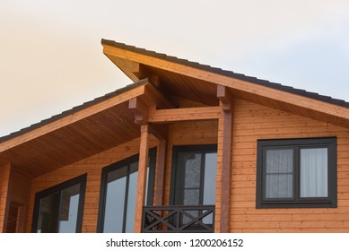 The facade of the wooden house in modern style