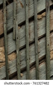 Facade of a wooden hut vertical