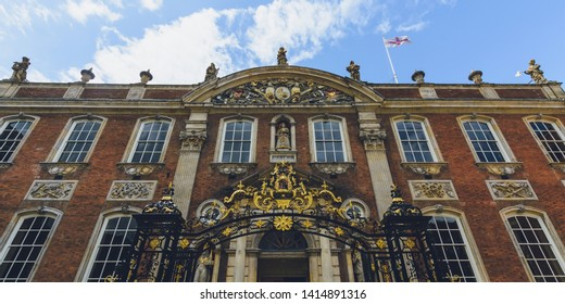 Facade of Worcester Guildhall, Top part horizontal photography England Worcester 2019