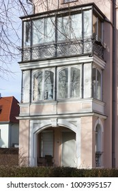 facades and buildings of historical city at south germany city in winter month january sunny afternoon