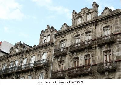 facades of a buildings in Vigo city, Spain