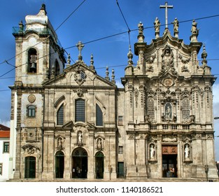 Facades of the churches of Carmo and Carmelitas in Porto, Portugal
