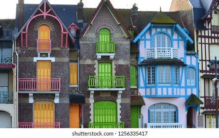 facades of colorful art deco and art nouveau buildings on the seafront of Mers-Les-Bains in Picardy in northern France