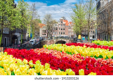 Facades of dutch historical houses and bridge over canal, Amsterdam scenery, Netherlands