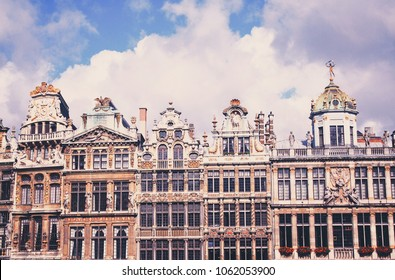 Facades of the guildhalls / guild houses around the Grand Place (Grand Square or Grand Market) in central Brussels, Belgium.