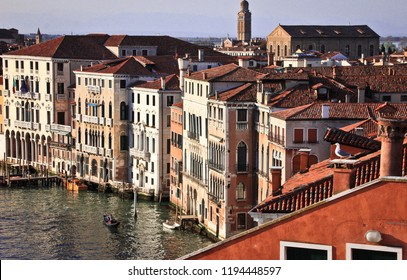 Facades of houses on the Grand Canal, Venice